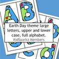 Earth Day theme. Lower case alphabet.