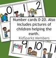 Earth Day theme. Numbers 0 to 20
