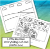 Little Red Hen storytelling cut and paste activity in b-w.Picture