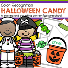 Halloween candy color sorting and counting flexible activities for early preschool & toddlers. $2.50