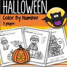 Halloween color by number - 3 pages.