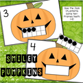 Halloween math center: Make Jack O'Lanterns' teeth with 10-frame cards.  1-10.