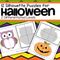 12 differentiated Halloween shadow puzzles to develop spatial awareness