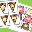 Match shape on cone to shape on ice cream. 12 shapes.