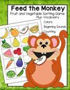 Feed the monkey by sorting fruits and vegetables - plus colors, counting, initial sounds.