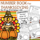 Thanksgiving theme no-prep number practice printables 1-20
