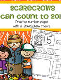 Scarecrow themed number sense practice printables 1-20 in b/w
