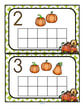 Fill the pumpkins themed 10-frames with manipulatives such as pom poms, counters or playdough. Recognize numbers and count sets 0-10.