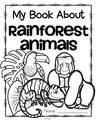 Set of 12 activity pages about Rainforest Animals for early learners.