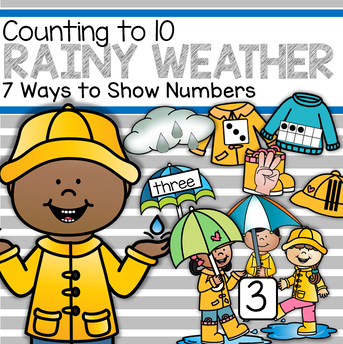 Rainy day weather counting to 10 hands-on center for preschool and kindergarten