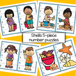 Shells and children - 5-piece number puzzles. 8 puzzles.