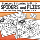 Spiders and Flies Numbers  Quick and Easy Set-Up Center - match 10-frames, tally marks, number words and dice.