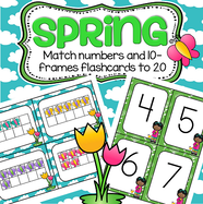 Set of free number flashcards 0-20, plus a set of 10-frame flashcards, 0-20, with a Spring theme