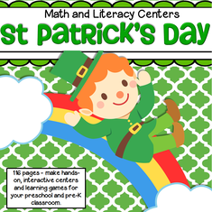 St. Patrick's Day Prep Pack for Preschool - 115 pages - make many centers and learning games