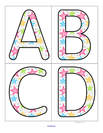 Stars theme large letter flashcards, upper and lower case.