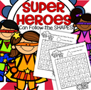 SUPERHEROES shapes recognition mazes - 34 pgs