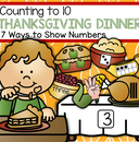 Match Thanksgiving food items to numbered tables - show numbers 7 different ways. 21 pages.