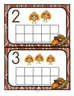 Fill the Thanksgiving turkey themed 10-frames with manipulatives such as pom poms, counters or playdough. Recognize numbers and count sets 0-10.