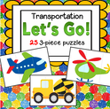 25 3-piece puzzles with a transportation theme.