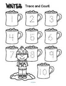 3 trace and count number printables for winter