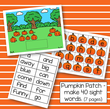 Pumpkin patch theme-make 40 sight words with individual letters