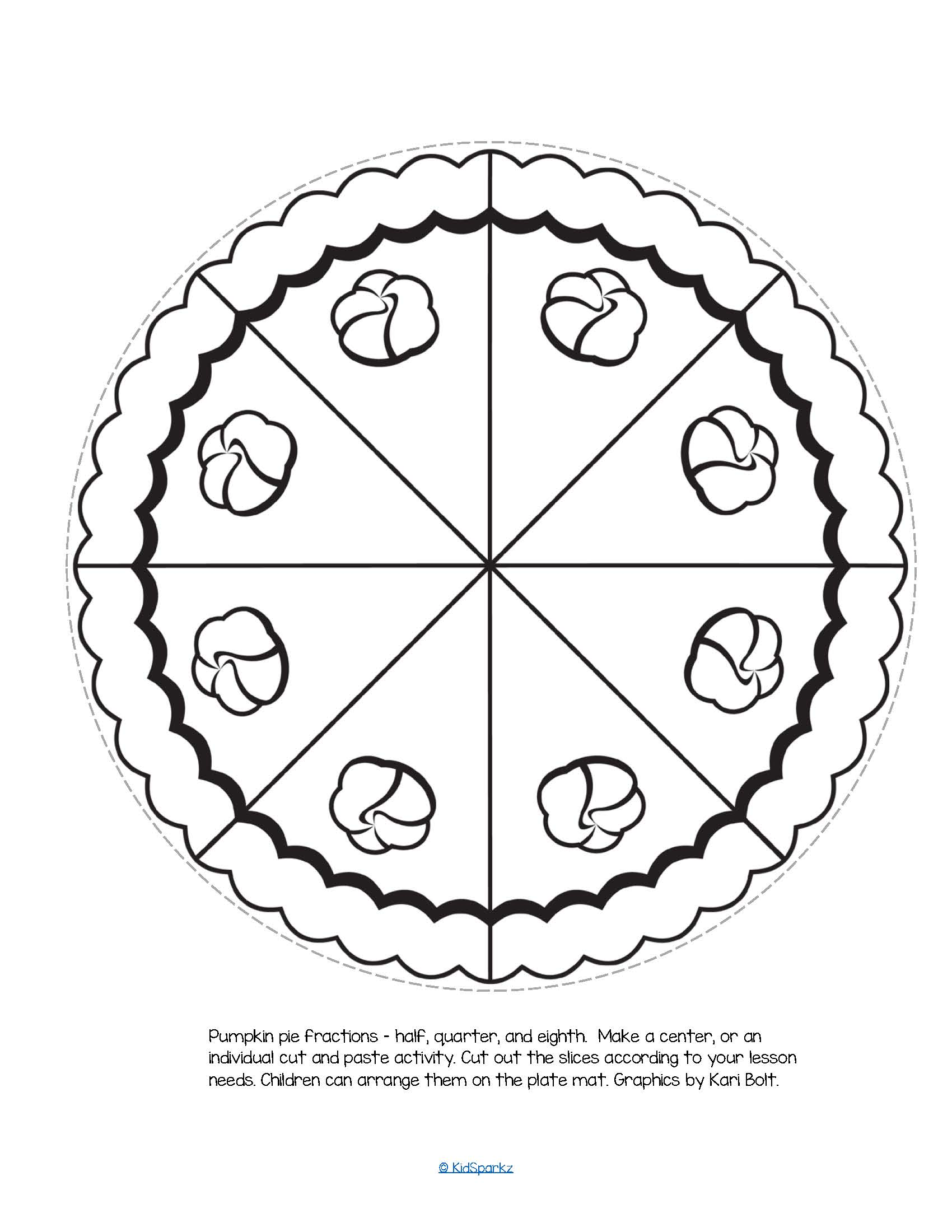 Pumpkin pie fractions b/w – half, quarter, and eighth. Make a center, or an individual cut and paste activity.