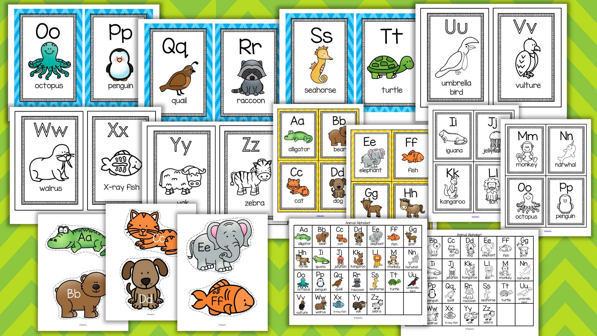 alphabet animals posters flash cards game cards large cut outs