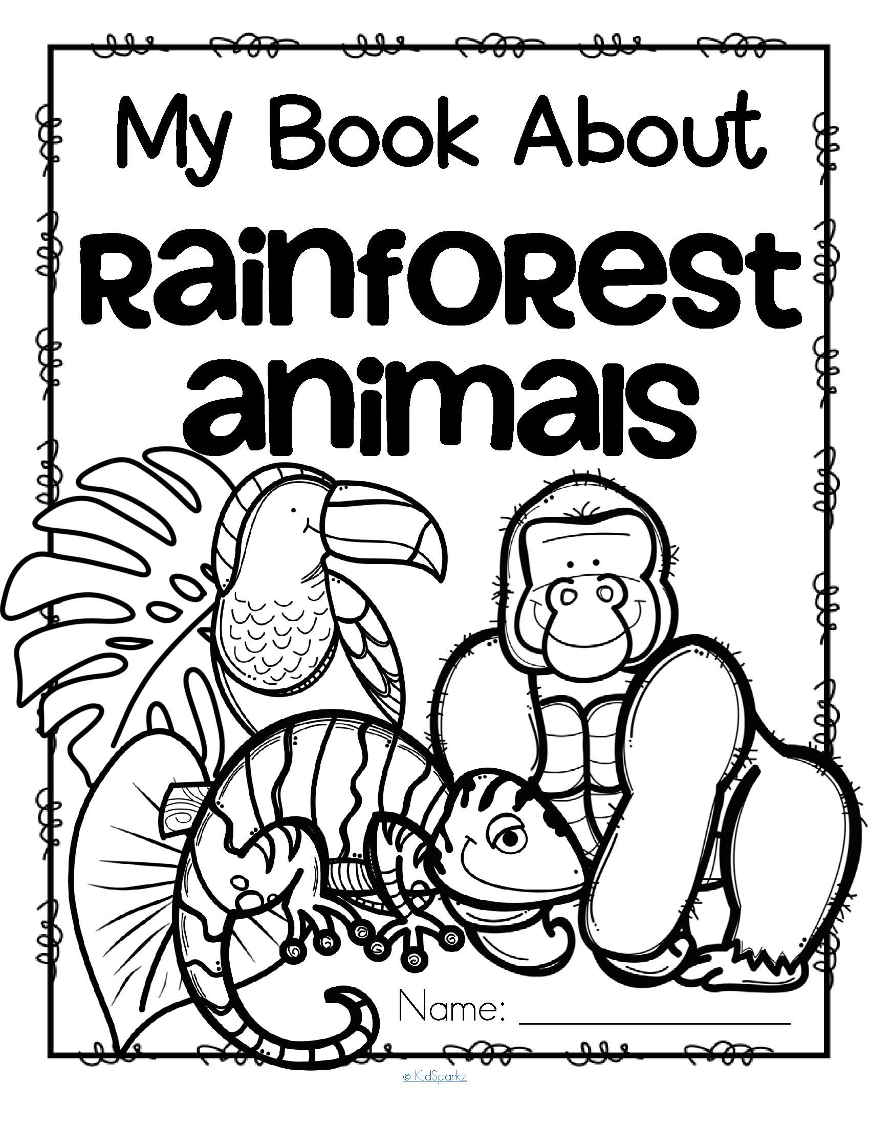 Rainforest Animals Coloring Printables