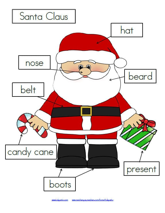 Let's label Santa - 3 differentiated ways.FREE