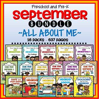 MEGA BUNDLE of 16 packs that are perfect for a September preschool curriculum.