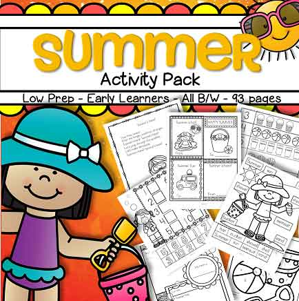 Summer monthly theme pack for preschool