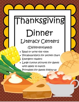 Thanksgiving dinner hands-on literacy centers for preschool