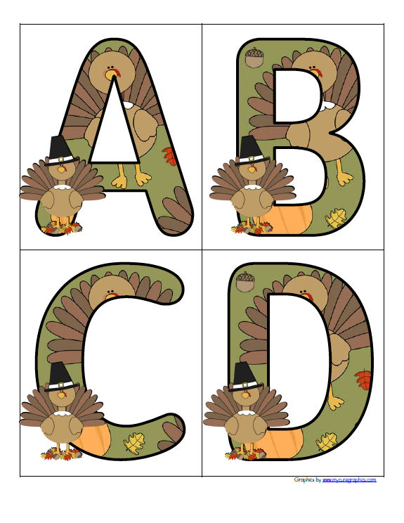 Thanksgiving turkey themed large alphabet letters, upper and lower case.