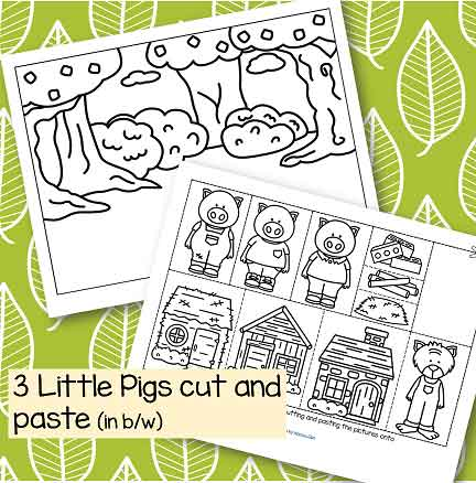 Three Little Pigs storytelling cut and paste activity in b/w