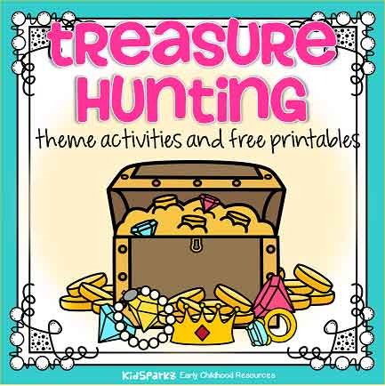 Treasure hunting theme activities and free printables for preschool and kindergarten