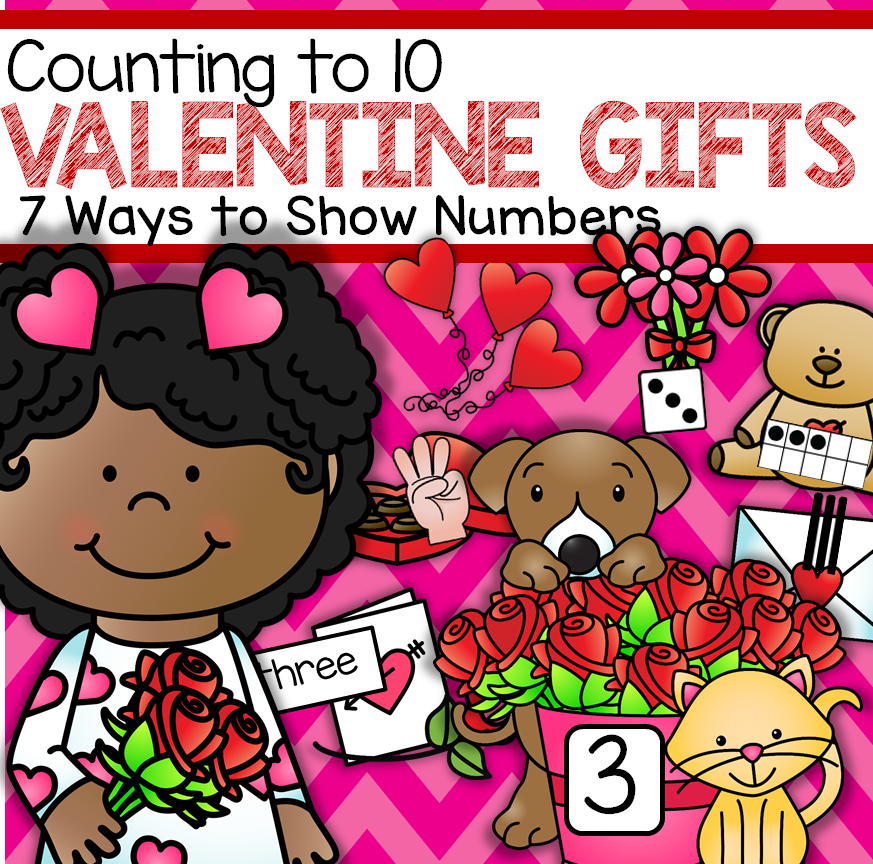 Counting Valentine's Day gifts with 7 different ways to show numbers onto numbered mats.