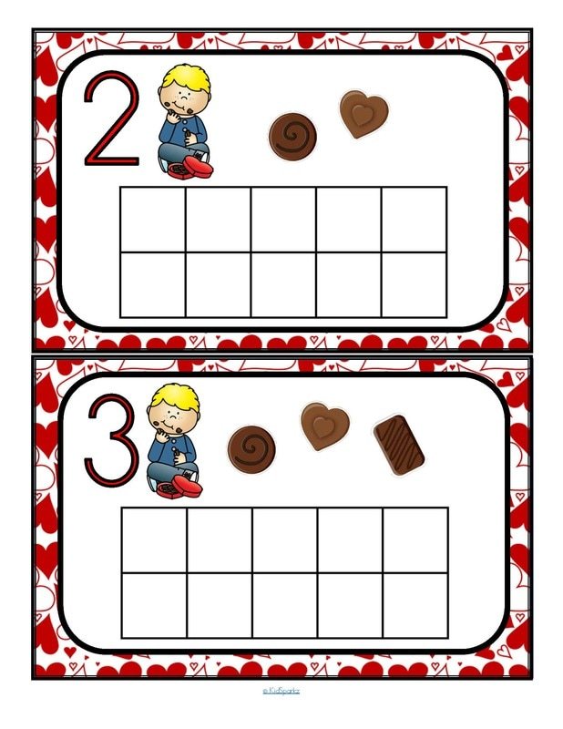 Valentine's Day theme counting mats 2 - to 10 - fill with small items