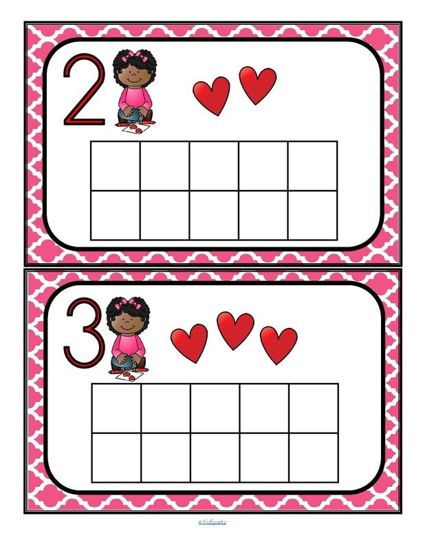Valentine's Day counting mats 1 - to 10 - fill with small items