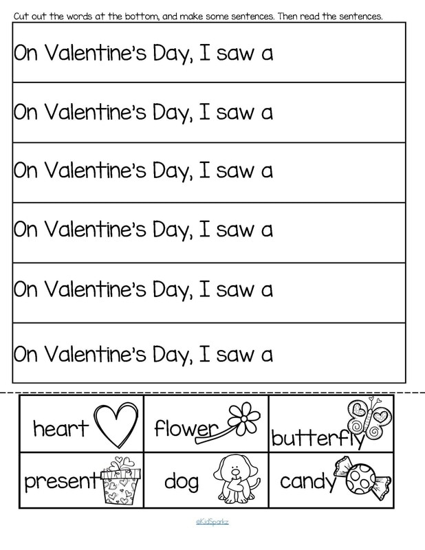 Valentine's Day cut and paste sentences 2 pgs