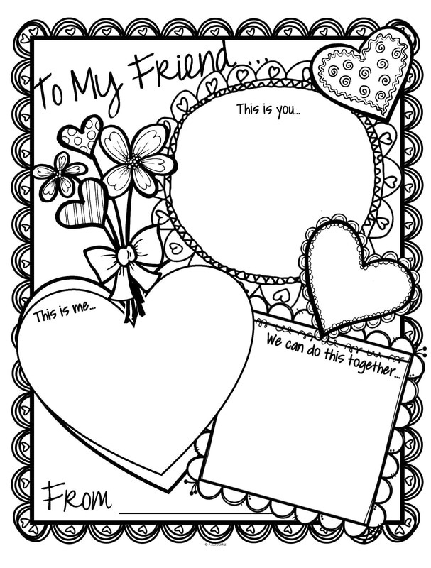"Valentine's Day card printable activity card.  There are 3 windows titled ""This is you"", ""This is me"" and ""We can do this together"". 2 versions."
