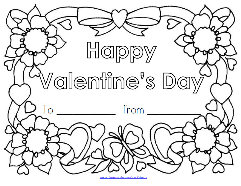 Valentine's Day poster to color and decorate with collage materials.
