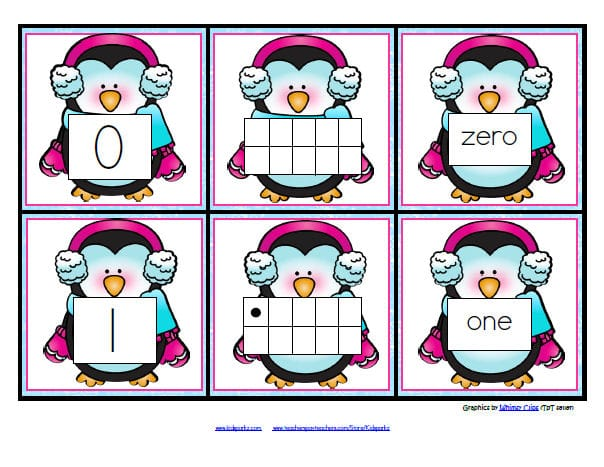 Penguins number matching flashcards 0-10.